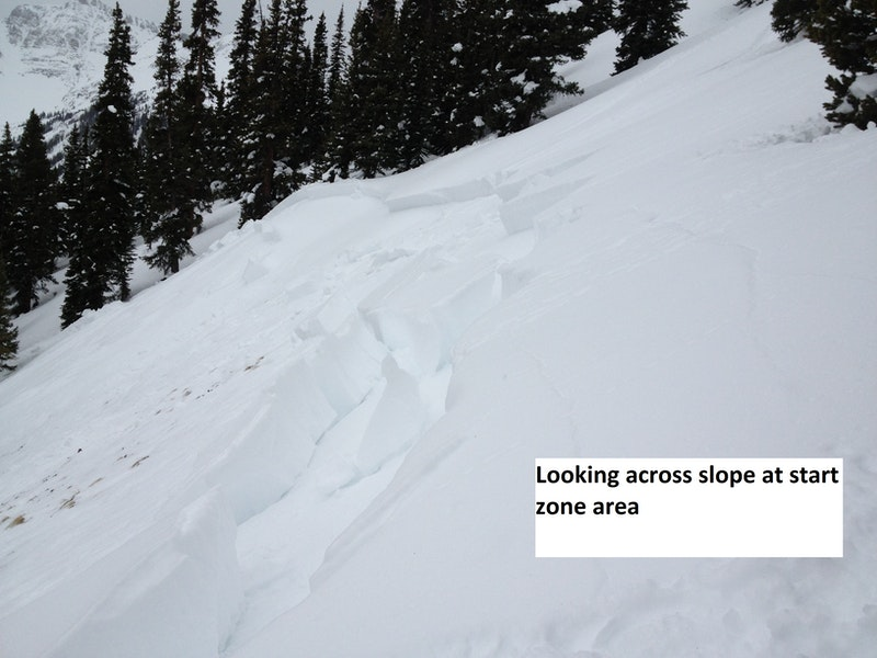 <b>Figure 7:</b> Looking across, toward the south at the crown. Note the ski tracks in the upper right corner of picture. (<a href=javascript:void(0); onClick=win=window.open('https://caic-production.imgix.net/gphxulqfhdoc3gi0red7mfoa7ig9?ixlib=php-3.1.0&s=adccef2ac9e5fd7a925845a259c27769','caic_media','resizable=1,height=820,width=840,scrollbars=yes');win.focus();return false;>see full sized image</a>)