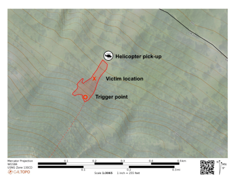 <b>Figure 2:</b> A topographic map showing the approximate extent of the avalanche, Rider 1's entry onto the slope, his location when the avalanche stopped, and the helicopter landing area. (<a href=javascript:void(0); onClick=win=window.open('https://caic-production.imgix.net/h6mm10h9mespyr753wi72ncx8nhu?ixlib=php-3.1.0&s=7034ca774a22e12536364c109405f1d3','caic_media','resizable=1,height=820,width=840,scrollbars=yes');win.focus();return false;>see full sized image</a>)