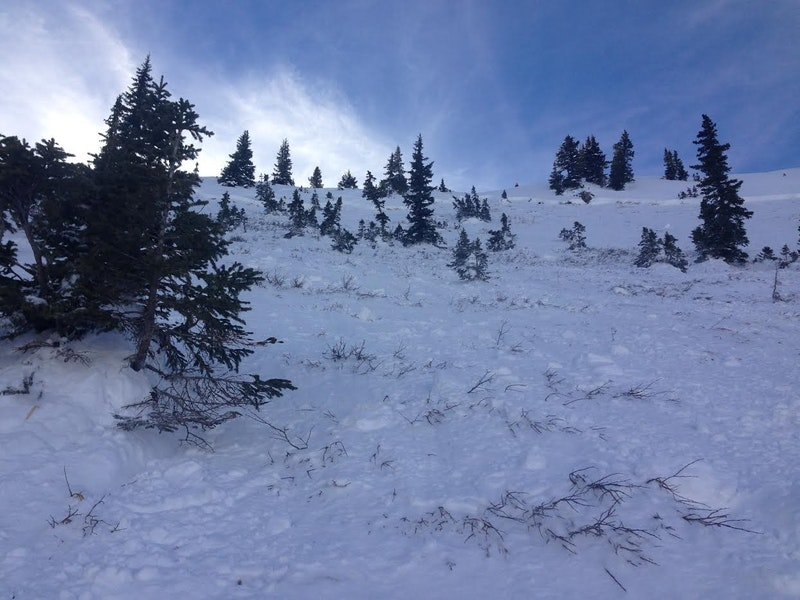 <b>Figure 4:</b> Crown and bed surface of skier-triggered Persistent Slab avalanche in Marble Bowl, 11/28/14. (<a href=javascript:void(0); onClick=win=window.open('https://caic-production.imgix.net/hwldacnmhfu5z2xlrnqroawqk05o?ixlib=php-3.1.0&s=cd4906e2932de793a98fb0494e6233a6','caic_media','resizable=1,height=820,width=840,scrollbars=yes');win.focus();return false;>see full sized image</a>)
