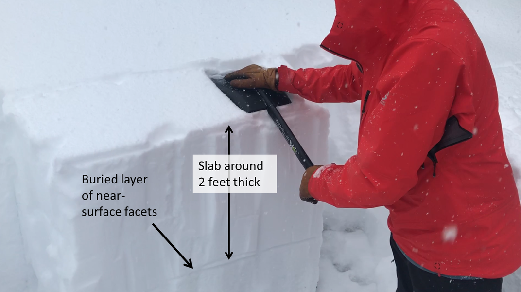 <b>Figure 17:</b> This image shows an Extended Column test along the skier's right flank of the avalanche. Snowpack tests on this weak layer did not produce propagating results. (<a href=javascript:void(0); onClick=win=window.open('https://caic-production.imgix.net/hz6km11w1p6cjedj6dm351czd527?ixlib=php-3.1.0&s=ffe6de26cf3392bccf9f675ad66ddca9','caic_media','resizable=1,height=820,width=840,scrollbars=yes');win.focus();return false;>see full sized image</a>)