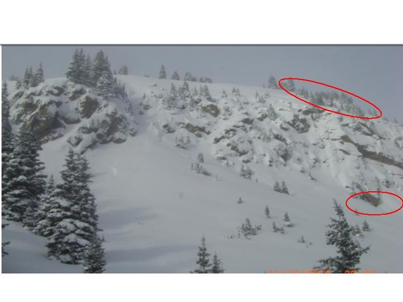 <b>Figure 1:</b> Red outlines indicate the approximate location of the fracture line and the deposition area where the snowboarded was recovered (<a href=javascript:void(0); onClick=win=window.open('https://caic-production.imgix.net/iski9bilek8h9nbxkx633xz8lihe?ixlib=php-3.1.0&s=02b3535d2ec131dadcb341bcbbe17896','caic_media','resizable=1,height=820,width=840,scrollbars=yes');win.focus();return false;>see full sized image</a>)