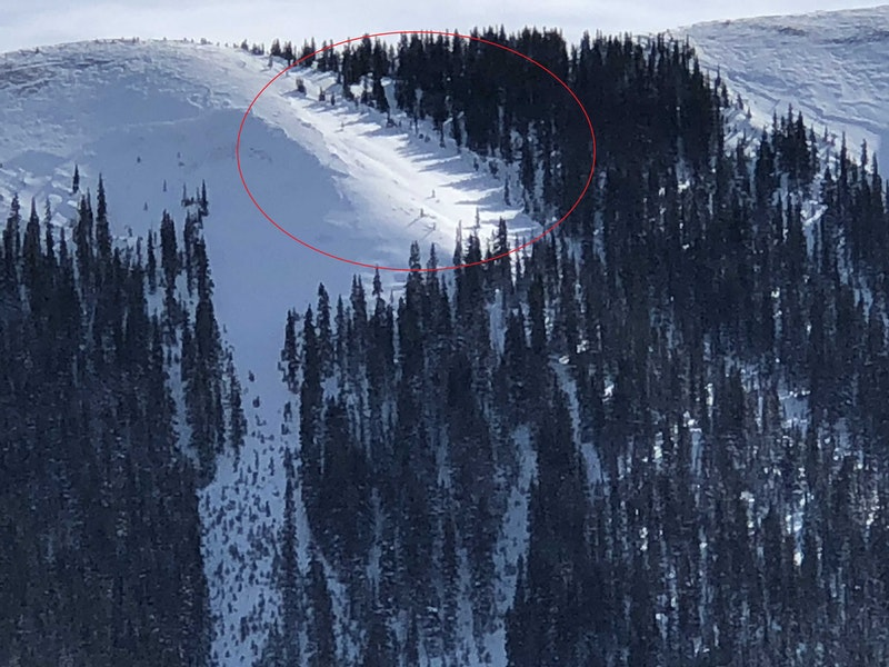 <b>Figure 2:</b> The red circle highlights the likely start zone of the avalanche. The avalanche began on a west-facing slope near treeline. (<a href=javascript:void(0); onClick=win=window.open('https://caic-production.imgix.net/j2st4cs1usncg7iyohglp08387bj?ixlib=php-3.1.0&s=8f1e16dec75d92088f6c02eecb89a924','caic_media','resizable=1,height=820,width=840,scrollbars=yes');win.focus();return false;>see full sized image</a>)