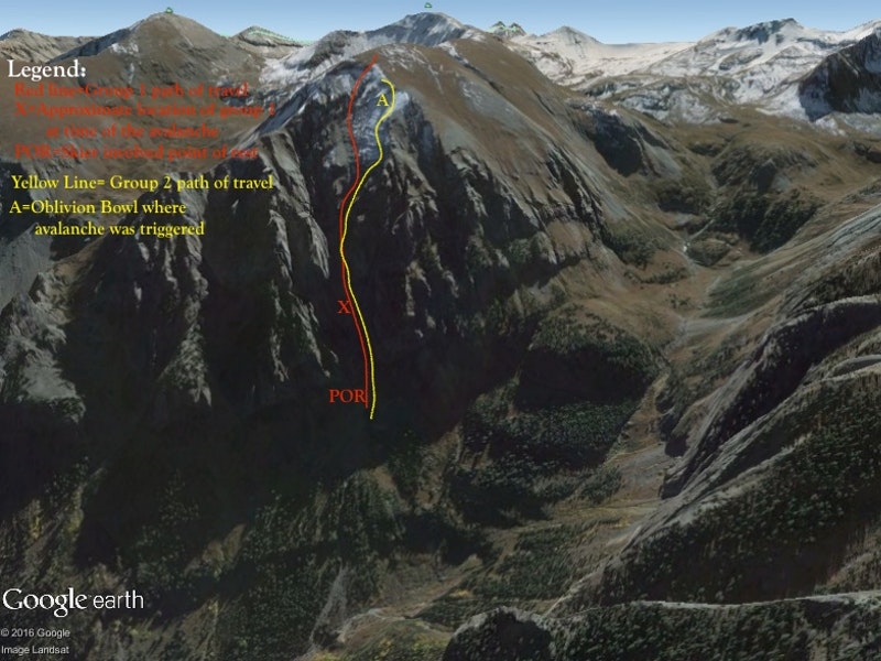 <b>Figure 4:</b> Google Earth image of the Little Wasatch face with both groups' estimated travel paths. (<a href=javascript:void(0); onClick=win=window.open('https://caic-production.imgix.net/j5xrpm7bqlztmuoek2pp515qujku?ixlib=php-3.1.0&s=d54b1f2a68259d75164d4333401f5ee1','caic_media','resizable=1,height=820,width=840,scrollbars=yes');win.focus();return false;>see full sized image</a>)