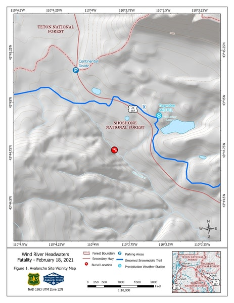 <b>Figure 1:</b> Avalanche Site Vicinity Map – Location of the avalanche accident that occurred in the headwaters of the Wind River on Togwotee Pass on February 18 (<a href=javascript:void(0); onClick=win=window.open('https://caic-production.imgix.net/jib7kypp165yovc09p75jt7bcumc?ixlib=php-3.1.0&s=83c0e7aaab38fea5bec24aab3f089ee4','caic_media','resizable=1,height=820,width=840,scrollbars=yes');win.focus();return false;>see full sized image</a>)