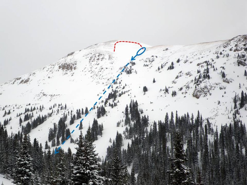 <b>Figure 2:</b> This photo was taken 10 days after the avalanche and shows the upper three quarters of avalanche path from across the valley. The dashed red line indicates the crown, with the deepest portion climber's right. The rider triggered the avalanche from the approximate area of the blue oval, and was carried along the arrow to the krumholtz. The snowmobile was carried over the rocks and down the gully, as indicated by the dashed line. (<a href=javascript:void(0); onClick=win=window.open('https://caic-production.imgix.net/jo8m1y3hhqg5vlk95jei6nwfar5i?ixlib=php-3.1.0&s=65bf837eaa919dd0c52be9ad29e8b222','caic_media','resizable=1,height=820,width=840,scrollbars=yes');win.focus();return false;>see full sized image</a>)