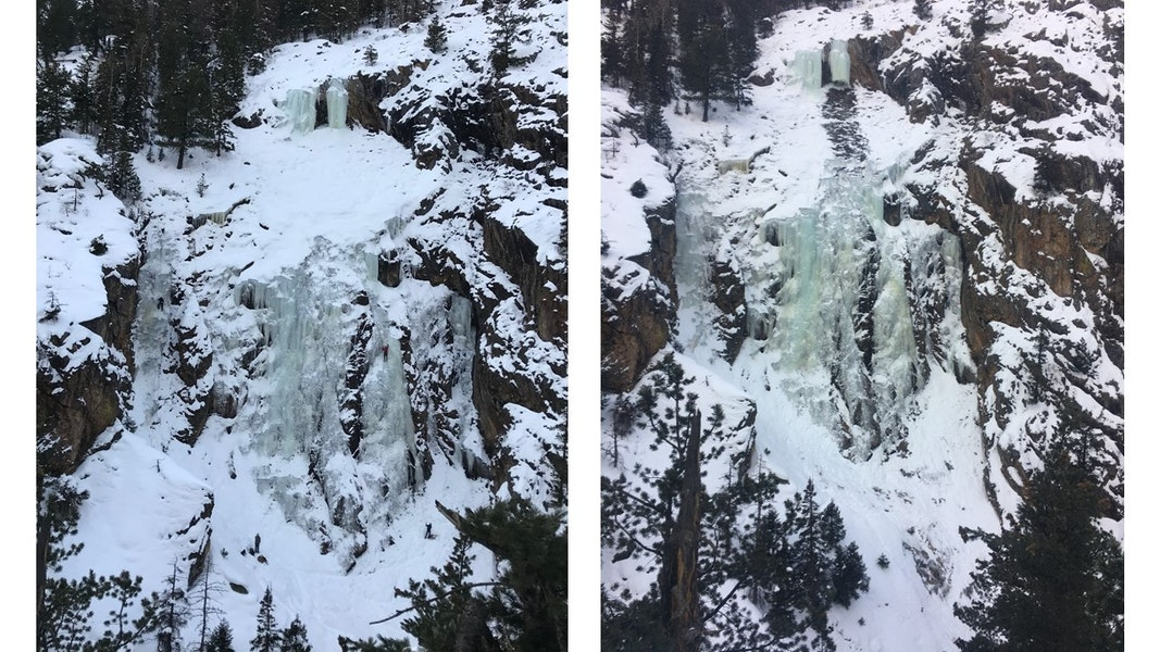 <b>Figure 2:</b> The Dungeon ice climb before and after the fatal avalanche accident. The image on the left was taken on January 5, 2020. The image on the right was taken after the avalanche on January 19, 2020. (<a href=javascript:void(0); onClick=win=window.open('https://caic-production.imgix.net/k6n69kn2l46nkd9msce9gbroyhgz?ixlib=php-3.1.0&s=96c9a7e1cce14f9f8cd7217f2e0e3b21','caic_media','resizable=1,height=820,width=840,scrollbars=yes');win.focus();return false;>see full sized image</a>)