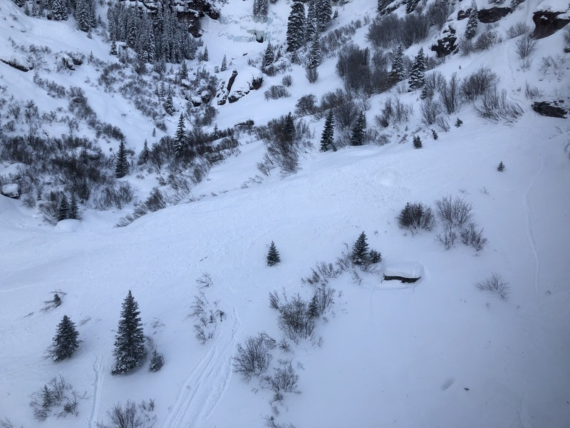 <b>Figure 3:</b> This image shows the avalanche debris in the lower portion of the runout area. Bear Creek February 19, 2019 (<a href=javascript:void(0); onClick=win=window.open('https://caic-production.imgix.net/kdhqkx87dny6weeboixfnk6p5q88?ixlib=php-3.1.0&s=2d654191a7f08f1f6ab2fdacae7a8093','caic_media','resizable=1,height=820,width=840,scrollbars=yes');win.focus();return false;>see full sized image</a>)