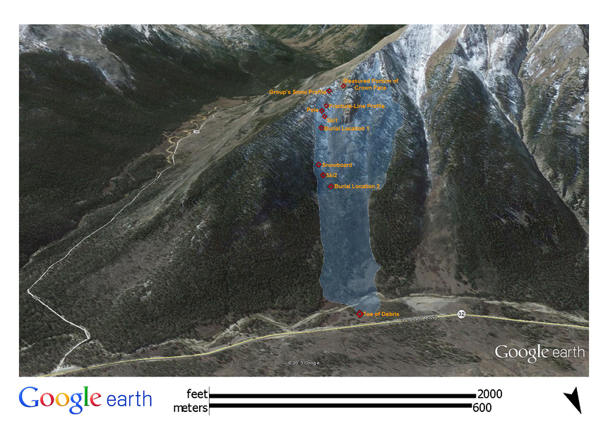 <b>Figure 4:</b> A Google Earth image of the north side of Star Mountain. The white polygon shows the approximate location and dimensions of the February 15th avalanche. The location of elements of the investigation are shown by red diamonds. (<a href=javascript:void(0); onClick=win=window.open('https://caic-production.imgix.net/lewpdahkskqkd5icddme8k57jy9v?ixlib=php-3.1.0&s=b24949828ff754428022b123f9f4ec37','caic_media','resizable=1,height=820,width=840,scrollbars=yes');win.focus();return false;>see full sized image</a>)