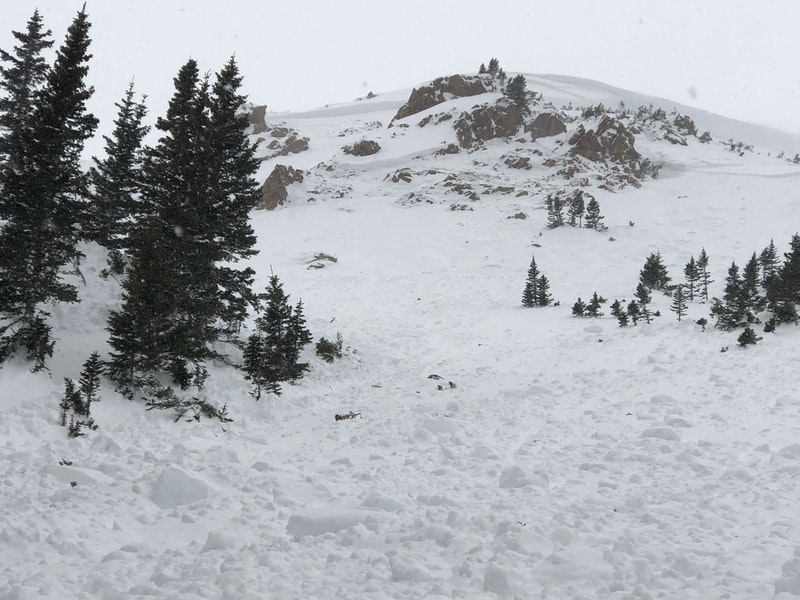 <b>Figure 5:</b> Looking up the avalanche path at the crown.The cornice likely collapsed in the upper right portion of the image, resulting avalanches on both sides. The cornice face was over 15 feet tall. Avalanches stepped down in both directions into a layer of near-surface faceted crystals about a meter deep as well as into the depth hoar layer at the ground. (<a href=javascript:void(0); onClick=win=window.open('https://caic-production.imgix.net/lf1ahjcv9c36a921mg4mgf0sruvx?ixlib=php-3.1.0&s=2528e0f2289338006c34586776ecd51e','caic_media','resizable=1,height=820,width=840,scrollbars=yes');win.focus();return false;>see full sized image</a>)