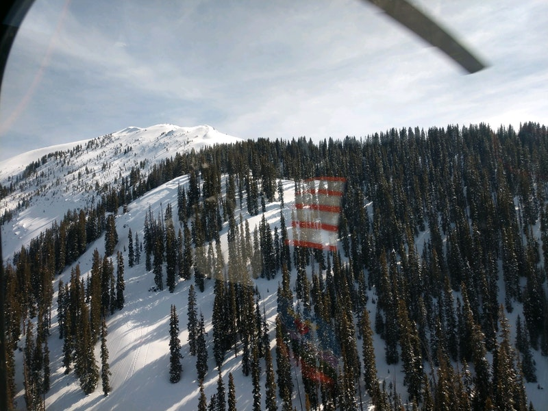 <b>Figure 1:</b> Looking down at an avalanche that caught and injured a skier near Rico Colorado in the North San Juan zone on March 31, 2020. Image courtesy San Miguel County SAR. (<a href=javascript:void(0); onClick=win=window.open('https://caic-production.imgix.net/lgffhgo8f8vwckx6arshzgvvcvtz?ixlib=php-3.1.0&s=9140b555d908e15c15bd929a46856253','caic_media','resizable=1,height=820,width=840,scrollbars=yes');win.focus();return false;>see full sized image</a>)