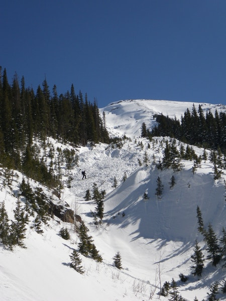 <b>Figure 7:</b> A skier near the toe of the avalanche debris. (<a href=javascript:void(0); onClick=win=window.open('https://caic-production.imgix.net/lhpm322671af8okpy6gcoj1udrmj?ixlib=php-3.1.0&s=f6fd341ca9b2367aaf4ccececccc80b7','caic_media','resizable=1,height=820,width=840,scrollbars=yes');win.focus();return false;>see full sized image</a>)