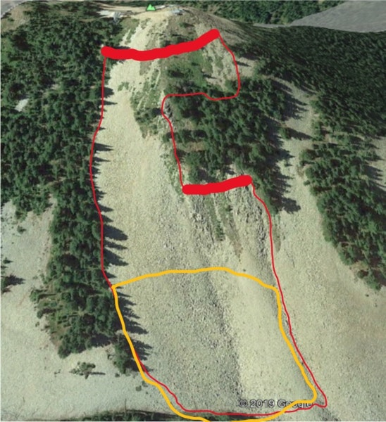 <b>Figure 2:</b> The approximate avalanche boundary is outlined. Thick red lines indicate fracture line, thin red lines the avalanche boundary. Yellow outlines the deposition. (<a href=javascript:void(0); onClick=win=window.open('https://caic-production.imgix.net/lkk7qeqq3k6fnhxis8j6tx4kfas3?ixlib=php-3.1.0&s=2a45686078798ac7a37af5281e36a850','caic_media','resizable=1,height=820,width=840,scrollbars=yes');win.focus();return false;>see full sized image</a>)