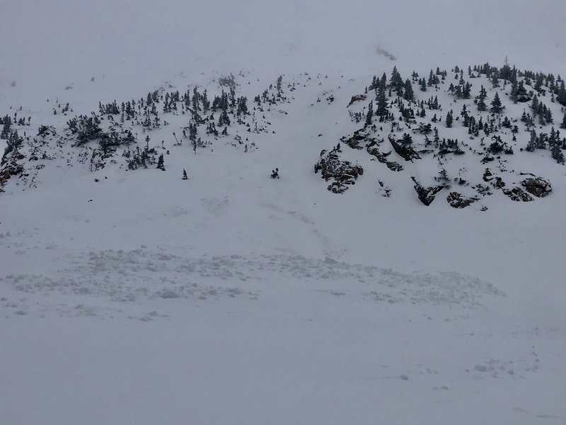 <b>Figure 1:</b> Looking up the slide path from the toe of the avalanche. The crown face is obscured by the clouds at the top of the image. The avalanche was approximately 285 feet wide at the crown face and around 375 feet wide at the toe. The avalanche ran around 425 vertical feet. (<a href=javascript:void(0); onClick=win=window.open('https://caic-production.imgix.net/mhmu7zrx6qhjik9zlmjf9xw6s6w4?ixlib=php-3.1.0&s=727261b08dca2336aa0293d7ebdfb830','caic_media','resizable=1,height=820,width=840,scrollbars=yes');win.focus();return false;>see full sized image</a>)