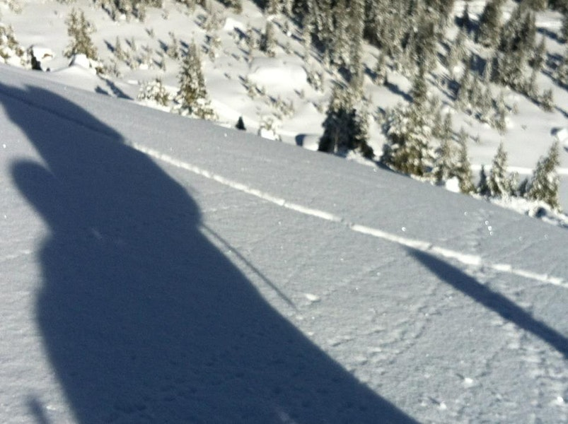 <b>Figure 4:</b> On a nearby very similar slope on a NE aspect, a party of skiers produced shooting cracks running about 80ft. They then proceeded to ski a N facing slope (est. at 36dgr) without further incident. NOTE: a snowpit next to that slope showed that same structure, with CT11+12 Q1 failing on large basal dh. (<a href=javascript:void(0); onClick=win=window.open('https://caic-production.imgix.net/my3qzbfydj293s1lofeyv8hwa1l6?ixlib=php-3.1.0&s=b2af020d34fe72f4a62f350cc0d3a974','caic_media','resizable=1,height=820,width=840,scrollbars=yes');win.focus();return false;>see full sized image</a>)