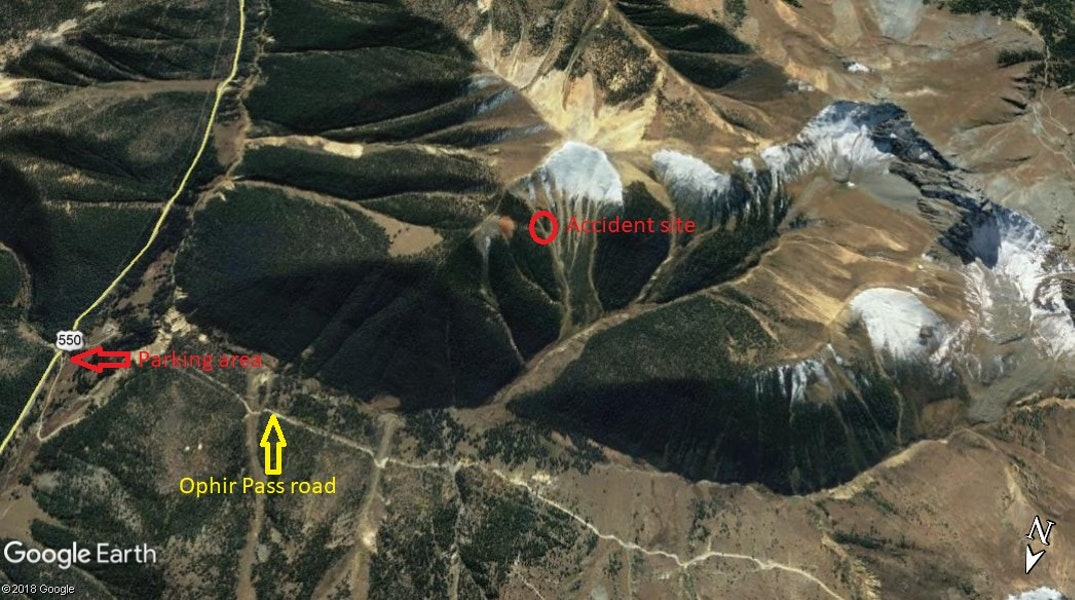 <b>Figure 5:</b> Google Earth imagery of the area, looking  south towards Battleship. The avalanche site is highlighted in the red circle, and the trailhead by the red arrow. (<a href=javascript:void(0); onClick=win=window.open('https://caic-production.imgix.net/nmr5q4eu1fthn32veeppp4gsygh4?ixlib=php-3.1.0&s=04a2001cddfa3ce349e9d6424a36efa5','caic_media','resizable=1,height=820,width=840,scrollbars=yes');win.focus();return false;>see full sized image</a>)