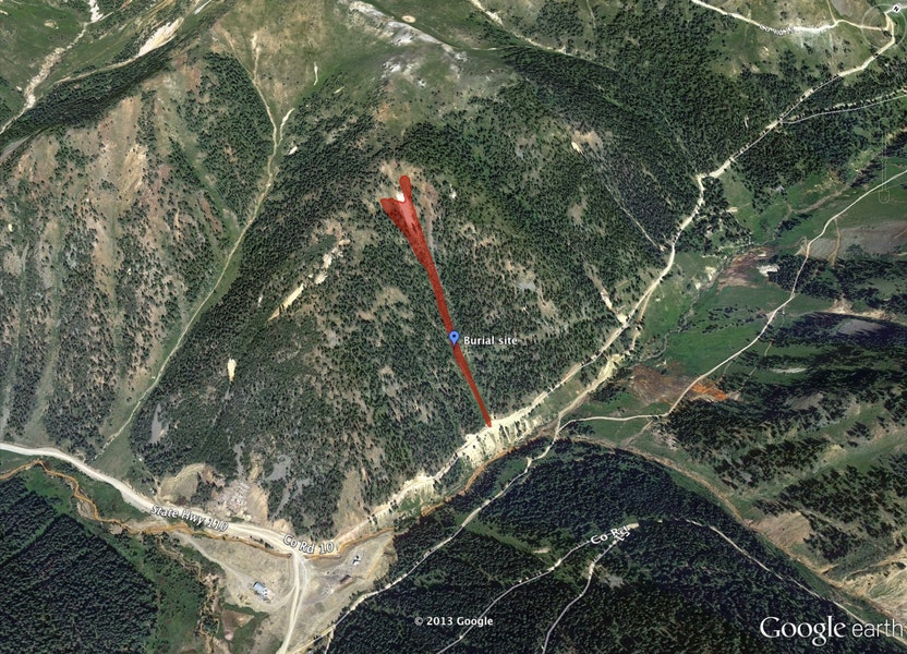 <b>Figure 1:</b> Google Earth image of the avalanche path and burial site. (<a href=javascript:void(0); onClick=win=window.open('https://caic-production.imgix.net/nn3qfflwncfmpx11jmmqasn8f01y?ixlib=php-3.1.0&s=e1f15e0238589219125cd414e0c78013','caic_media','resizable=1,height=820,width=840,scrollbars=yes');win.focus();return false;>see full sized image</a>)