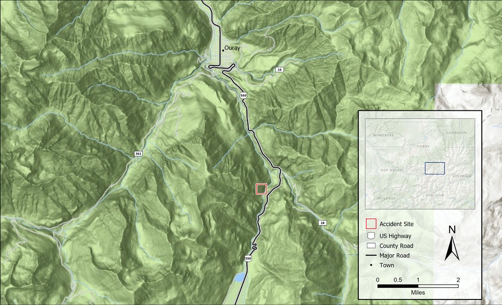<b>Figure 1:</b> A map of the accident area south of Ouray, Colorado and in the CAIC's Northern San Juan Mountains forecast zone. The location of the accident in the Uncompahgre Gorge is marked in red. (<a href=javascript:void(0); onClick=win=window.open('https://caic-production.imgix.net/noc9sljgomvgkn7crl47whzfk0lg?ixlib=php-3.1.0&s=0bfde43024cce15dac68ccc80262380c','caic_media','resizable=1,height=820,width=840,scrollbars=yes');win.focus();return false;>see full sized image</a>)