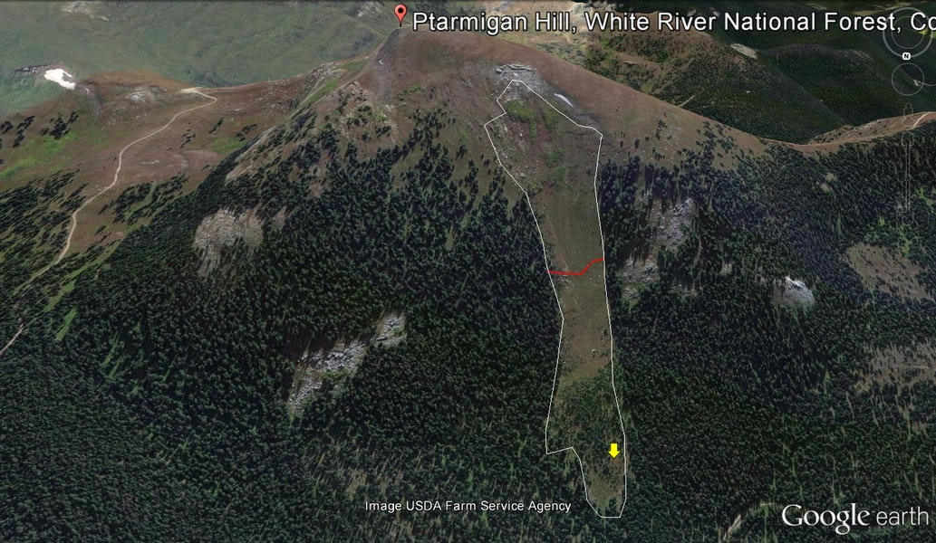 <b>Figure 20:</b> Google earth image of the avalanche path. The red line indicates the approximate location of the top of the debris. The yellow arrow indicates the approximate location where Rider 2 was found. (<a href=javascript:void(0); onClick=win=window.open('https://caic-production.imgix.net/o8rt1hstjif6uw5b26qp3a2x8ko0?ixlib=php-3.1.0&s=31dcbf6f3b3e485525738ac14523185d','caic_media','resizable=1,height=820,width=840,scrollbars=yes');win.focus();return false;>see full sized image</a>)