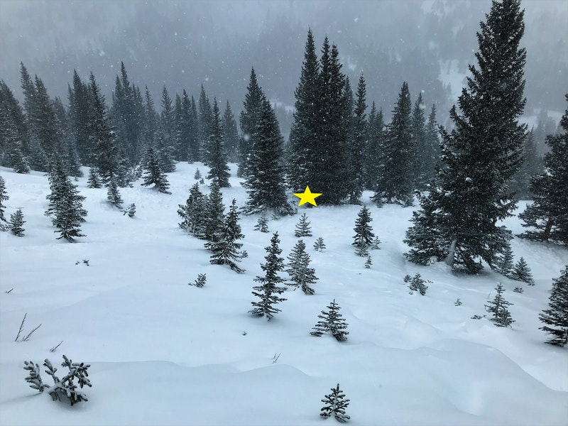 <b>Figure 11:</b> Looking down and west across the avalanche path. The yellow star marks the burial location in the small cluster of trees. (<a href=javascript:void(0); onClick=win=window.open('https://caic-production.imgix.net/oc8hclkgfomfbampedrcj4me51qx?ixlib=php-3.1.0&s=0842f94467d7218c83467ea2af66b25d','caic_media','resizable=1,height=820,width=840,scrollbars=yes');win.focus();return false;>see full sized image</a>)