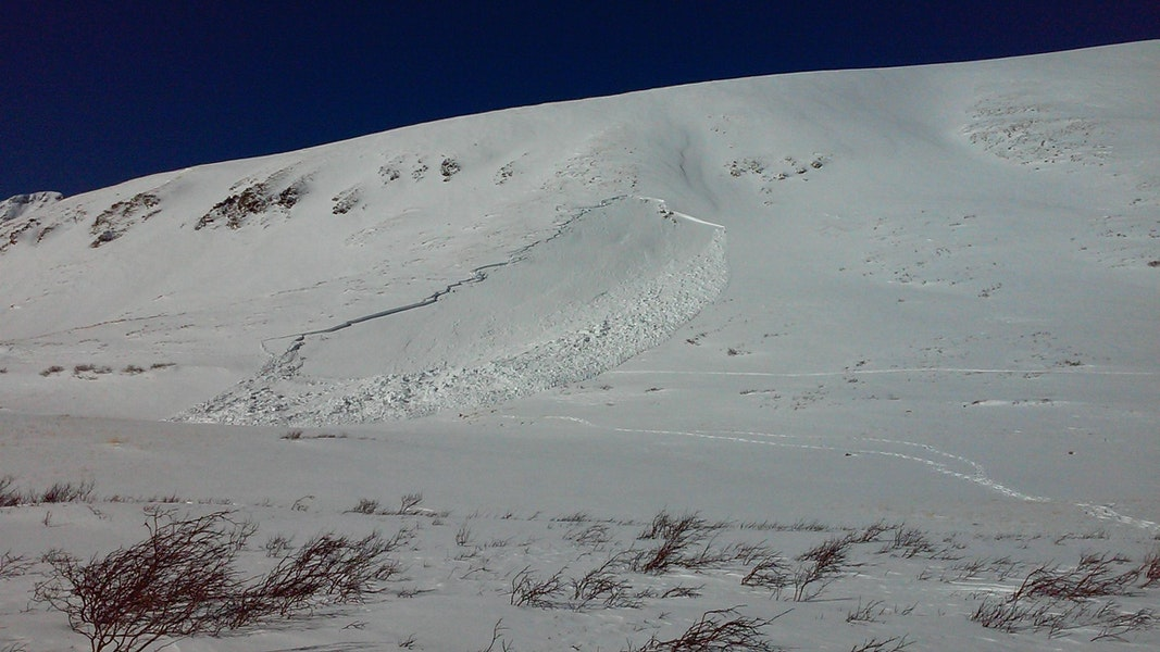 <b>Figure 1:</b> The site of a fatal avalanche accident on the east flank of Kelso Mountain. The group's route into the area follows a near horizontal track on the right of the avalanche. Their route out leaves the lower portion of the debris. Photo taken December 31st. (<a href=javascript:void(0); onClick=win=window.open('https://caic-production.imgix.net/ojzuqp18ounfhxxtzmfjt737tes6?ixlib=php-3.1.0&s=fa058d0e2565439af90335aae4673aec','caic_media','resizable=1,height=820,width=840,scrollbars=yes');win.focus();return false;>see full sized image</a>)