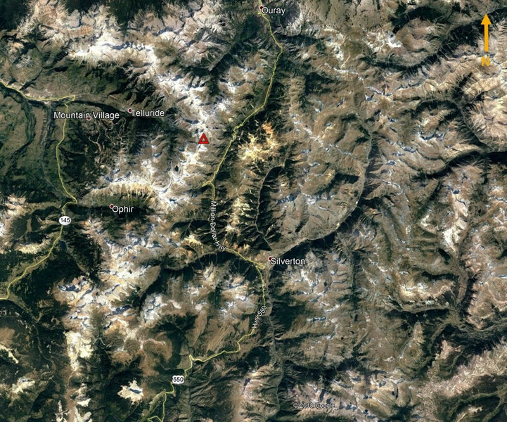 <b>Figure 2:</b> An overview of the area shown in Google Earth. The red triangle marks the approximate location of the avalanche accident. (<a href=javascript:void(0); onClick=win=window.open('https://caic-production.imgix.net/ort74ednptr6lllappenr65odrva?ixlib=php-3.1.0&s=f458cd00a1ddda87e5094e920d56afa0','caic_media','resizable=1,height=820,width=840,scrollbars=yes');win.focus();return false;>see full sized image</a>)