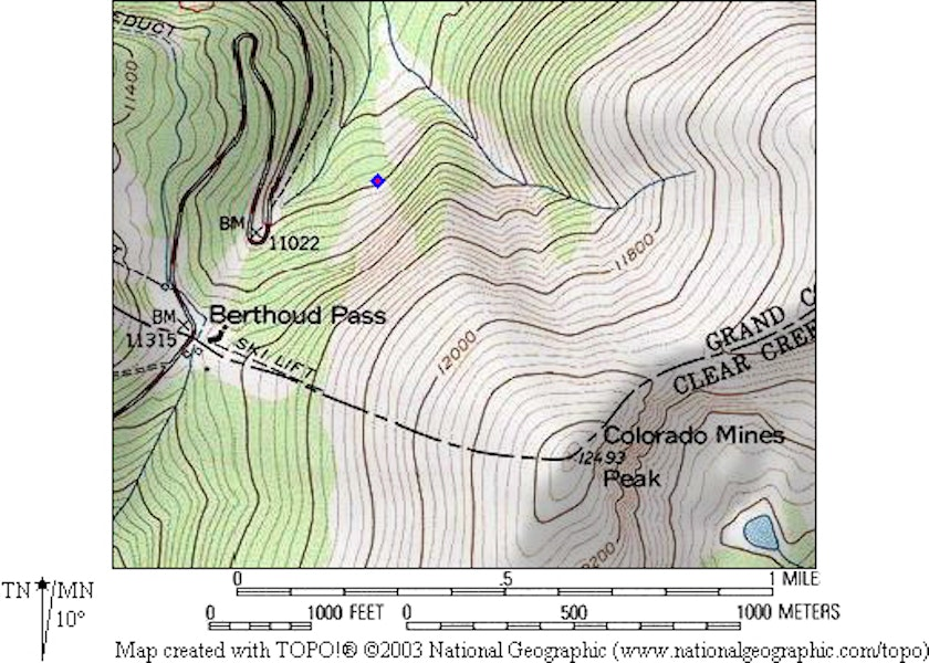 <b>Figure 1:</b> Topographic map of Berthoud Pass, with the diamond marking the avalanche debris. (<a href=javascript:void(0); onClick=win=window.open('https://caic-production.imgix.net/ou5w3kjb6a63fo1feezl9hatejob?ixlib=php-3.1.0&s=5ffe3ec5474c94b8ecb94945a44f1df1','caic_media','resizable=1,height=820,width=840,scrollbars=yes');win.focus();return false;>see full sized image</a>)