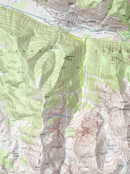 <b>Figure 1:</b> USGS 7.5 minute map of Telluride and Bear Creek. The Bear Creek trail is shown in yellow, and the blue line marks the approximate location of the avalanche. Skier 1 was caught and buried near the trail. (<a href=javascript:void(0); onClick=win=window.open('https://caic-production.imgix.net/p55jg0t8x16twyyzxyiha591bwdg?ixlib=php-3.1.0&s=c2b59e4c52a32996934f017f36c1f5e1','caic_media','resizable=1,height=820,width=840,scrollbars=yes');win.focus();return false;>see full sized image</a>)