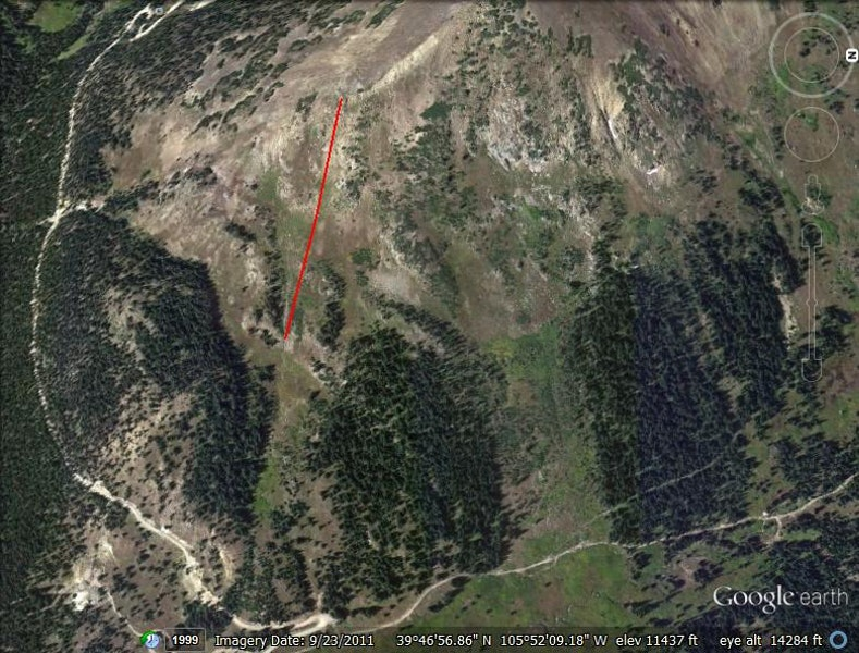 <b>Figure 1:</b> Google Earth image. avalanche was triggered at the bottom of the red line, and crown extended along the ridge line. (<a href=javascript:void(0); onClick=win=window.open('https://caic-production.imgix.net/pert0bqwrxn62xj54bebrsc9zqu8?ixlib=php-3.1.0&s=117880596b5e253d35478f5c3dda1e27','caic_media','resizable=1,height=820,width=840,scrollbars=yes');win.focus();return false;>see full sized image</a>)