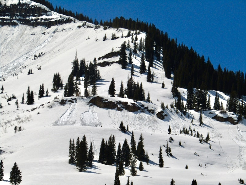 <b>Figure 8:</b> 3 small Wet Slab avalanches that ran on April 5th on this east northeast-facing slope below treeline. (<a href=javascript:void(0); onClick=win=window.open('https://caic-production.imgix.net/pkpcrpbwc3f36lsci8vb5iyy3umg?ixlib=php-3.1.0&s=bf3232a92fd6271046d2c1f7195c612e','caic_media','resizable=1,height=820,width=840,scrollbars=yes');win.focus();return false;>see full sized image</a>)