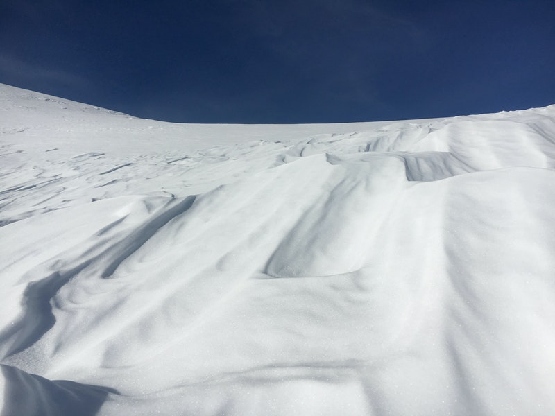 <b>Figure 9:</b> Sastrugi snow above the crown face of the avalanche. This is similar to the snow surface the group described on the slope before the avalanche. (<a href=javascript:void(0); onClick=win=window.open('https://caic-production.imgix.net/pv8uqdvyzmwrrjr8q1vuwmwyjclm?ixlib=php-3.1.0&s=fa7684c630a9a24647f45f67f62e0f8f','caic_media','resizable=1,height=820,width=840,scrollbars=yes');win.focus();return false;>see full sized image</a>)
