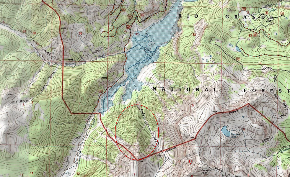 <b>Figure 15:</b> A map of the accident site. The red circle shows the approximate area where the Wolf Creek ski patrol conducted operations on March 3rd and 4th. (<a href=javascript:void(0); onClick=win=window.open('https://caic-production.imgix.net/pwoqdmvfucsp8ernahvwfov859in?ixlib=php-3.1.0&s=cb965d14d4e24a58d36a66547bc1dd35','caic_media','resizable=1,height=820,width=840,scrollbars=yes');win.focus();return false;>see full sized image</a>)