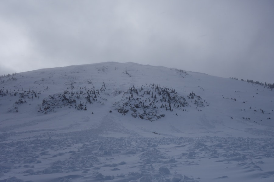 <b>Figure 4:</b> Looking up at the NE face of South Diamond peak from the run out zone. This avalanche ran on 12-24-2016. (<a href=javascript:void(0); onClick=win=window.open('https://caic-production.imgix.net/q8haxqm8o3a49jf6w2tsqxjy95rx?ixlib=php-3.1.0&s=ffabf1bfc3eefda2c69f2fd85567f9fa','caic_media','resizable=1,height=820,width=840,scrollbars=yes');win.focus();return false;>see full sized image</a>)