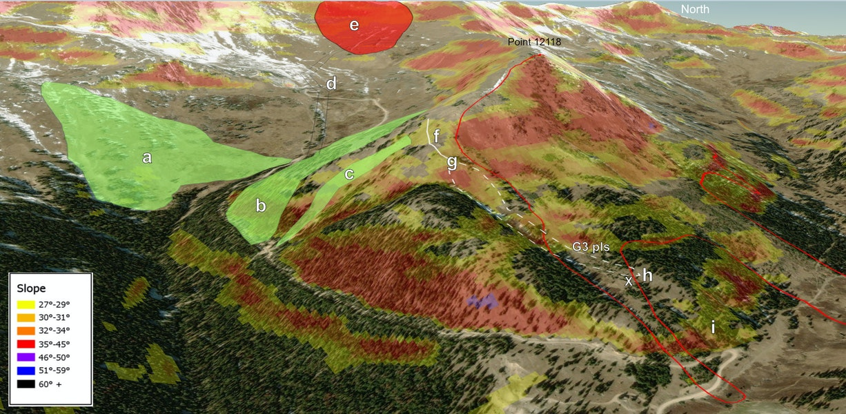 """<b>Figure 4:</b> An annotated 3D representation of the events of March 7, 2019. The red line delineates the approximate outline of the fatal avalanche. The green polygons (a,b, and c) represent the areas where the group made their first five runs. The snow cat road (d) is where the group traveled between runs 5 and 6. They were turned back because of the large avalanche (e) which covered the snowcat road. The group's traverse into runs 6 and 7 (f), and the approximate area of runs 6 and 7 (g) are delineated by the white lines. Guides 1, 2 and most of the clients were waiting in the trees after run 7 (h), planning to exit along the same route they used on run 6 (i). """"G3 pls"""" marks the approximate point last seen of Guide 3, and the white X marks his approximate burial location. (ESRI 3D imagery basemap with fixed slope shading from caltopo.com) (<a href=javascript:void(0); onClick=win=window.open('https://caic-production.imgix.net/qtf2fu09qec5m8g2p84tpwynt82l?ixlib=php-3.1.0&s=1ad171a581dae82de0491f87442bb670','caic_media','resizable=1,height=820,width=840,scrollbars=yes');win.focus();return false;>see full sized image</a>)"""