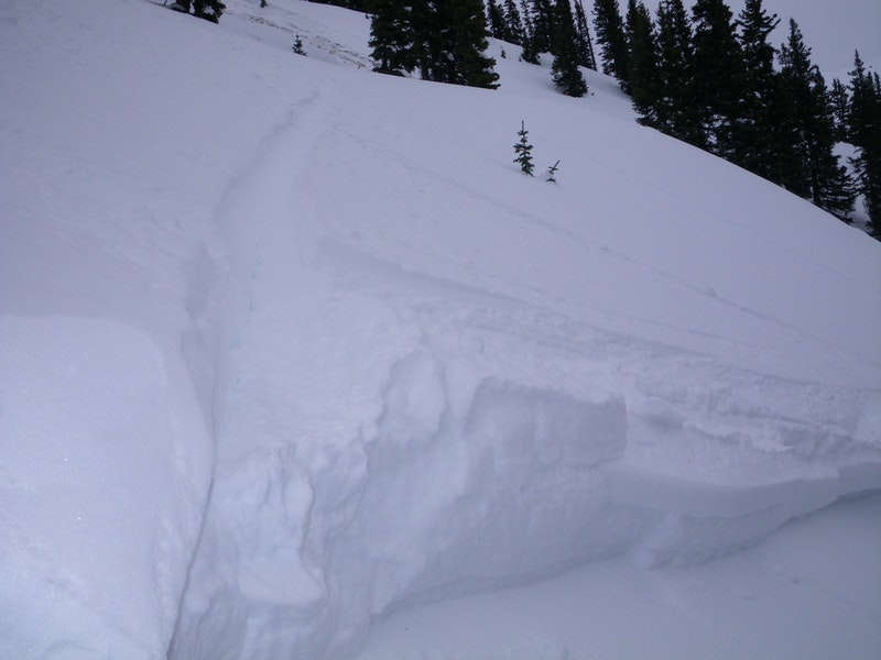 <b>Figure 3:</b> Skier 3's tracks leading to the crown face. (<a href=javascript:void(0); onClick=win=window.open('https://caic-production.imgix.net/r60hy0fefxltkzky7orrhgiqju9o?ixlib=php-3.1.0&s=290200a607e2b831128f16537001f695','caic_media','resizable=1,height=820,width=840,scrollbars=yes');win.focus();return false;>see full sized image</a>)