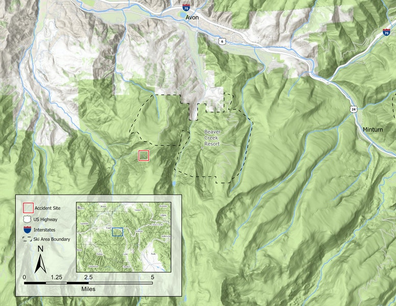 <b>Figure 12:</b> Overview map of the accident area. The accident site is marked by the red box. The Beaver Creek Ski Area boundary is marked by the black dashed line. (<a href=javascript:void(0); onClick=win=window.open('https://caic-production.imgix.net/s07s4klbqvzzk1pezipp8q5qd46n?ixlib=php-3.1.0&s=c68d95a120839e70372197544c48a8d7','caic_media','resizable=1,height=820,width=840,scrollbars=yes');win.focus();return false;>see full sized image</a>)