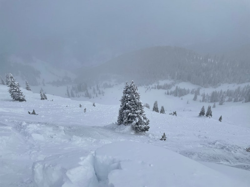 <b>Figure 4:</b> From the crown looking down the avalanche path after mitigation efforts to protect rescuers. (<a href=javascript:void(0); onClick=win=window.open('https://caic-production.imgix.net/s389fn7ywujcle0r2w3ny5k40cs0?ixlib=php-3.1.0&s=46b8f3d7beaa03041ec9cf7e5c0fb5dd','caic_media','resizable=1,height=820,width=840,scrollbars=yes');win.focus();return false;>see full sized image</a>)