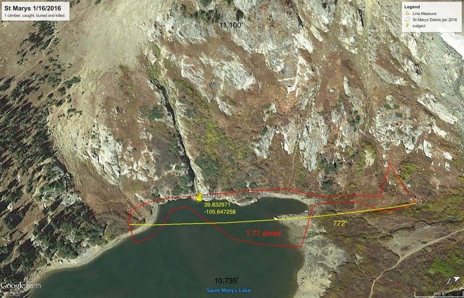 <b>Figure 13:</b> Google Earth image of St Marys Lake. The red line indicate the estimated area of the avalanche debris, which is approximately 1.77 acres. The yellow pin indicates where victim was found. The yellow line shows the approximate width of the avalanche debris, which is 770 feet. (<a href=javascript:void(0); onClick=win=window.open('https://caic-production.imgix.net/s9ubtphcb2i4mmwcw1y85s028vqw?ixlib=php-3.1.0&s=428562fdebfe51bab388c7e07252a8bd','caic_media','resizable=1,height=820,width=840,scrollbars=yes');win.focus();return false;>see full sized image</a>)