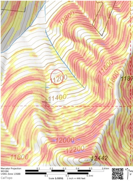 <b>Figure 2:</b> A topographic map of the accident site, shaded by slope angle. Point 12442 is locally known as the Battleship. The burial locations are marked by the red circle. Slope angle is shaded with Caltop fixed bins: 27 to 29 degrees in yellow, 30 to 32 degrees in orange, 32 to 34 degrees in light red, 35 to 45 degrees in dark red, 46 to 50 degrees in purple. (<a href=javascript:void(0); onClick=win=window.open('https://caic-production.imgix.net/tsfv0qeyy6voflyr5wp52w20fpy7?ixlib=php-3.1.0&s=049bb8fd476206629513e589ade702d6','caic_media','resizable=1,height=820,width=840,scrollbars=yes');win.focus();return false;>see full sized image</a>)
