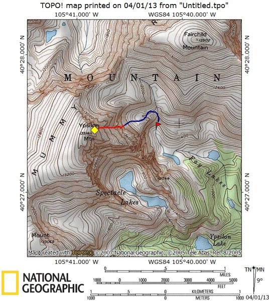 <b>Figure 6:</b> Map of accident site. The yellow diamond indicates the site of the avalanche, and the red line indicates the avalanche track. The blue line shows where the party walked after the avalanche, and the red flag indicates the final location of Climber 1. (<a href=javascript:void(0); onClick=win=window.open('https://caic-production.imgix.net/txaljliae54lecu8dxp4otiod23d?ixlib=php-3.1.0&s=33716f054131171d41e608ade4ec9644','caic_media','resizable=1,height=820,width=840,scrollbars=yes');win.focus();return false;>see full sized image</a>)