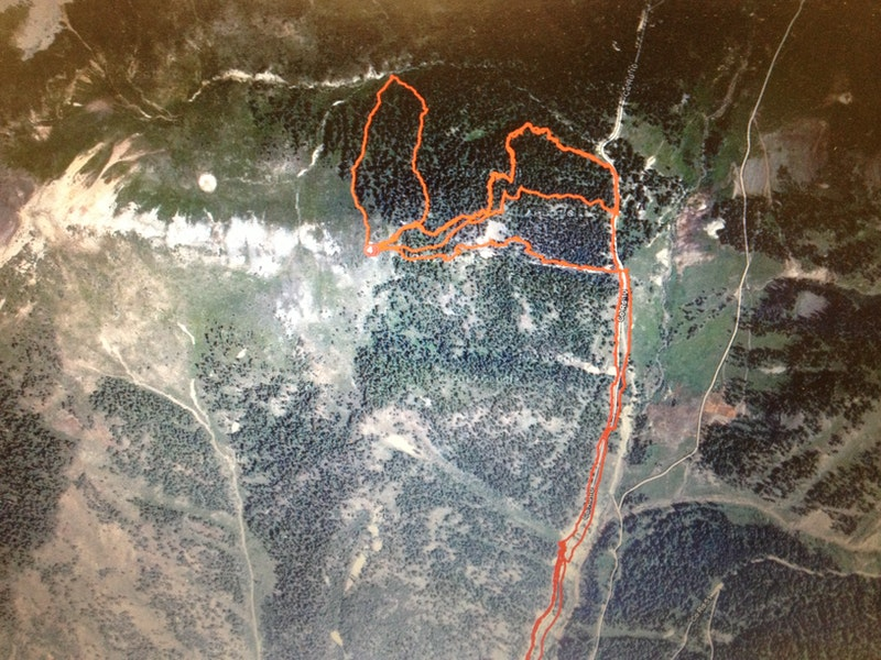 <b>Figure 10:</b> Satellite view of GPS tracks. The far left lines are the up and down tracks of the group's first ski descent on north facing terrain. Of the three lines to the right, the most northerly line is the main uptrack. The next line to the south is the second ski descent on an east aspect. The third most southerly line is the final ski descent that caused the slide. (<a href=javascript:void(0); onClick=win=window.open('https://caic-production.imgix.net/ty1shm6a0fmmjkx2c94zqrw82r7s?ixlib=php-3.1.0&s=cd6d66a900059286181d70c8ee63fe02','caic_media','resizable=1,height=820,width=840,scrollbars=yes');win.focus();return false;>see full sized image</a>)