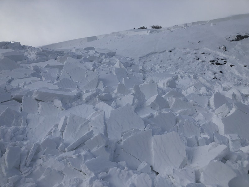 <b>Figure 5:</b> Debris from this avalanche piled up on a flat bench in the terrain. The debris was 3 feet at the deepest point. (<a href=javascript:void(0); onClick=win=window.open('https://caic-production.imgix.net/u7yaglsr4egoejtpqb6u67duthxe?ixlib=php-3.1.0&s=2f51aebc8e5abcdb21177a1a13639ffb','caic_media','resizable=1,height=820,width=840,scrollbars=yes');win.focus();return false;>see full sized image</a>)