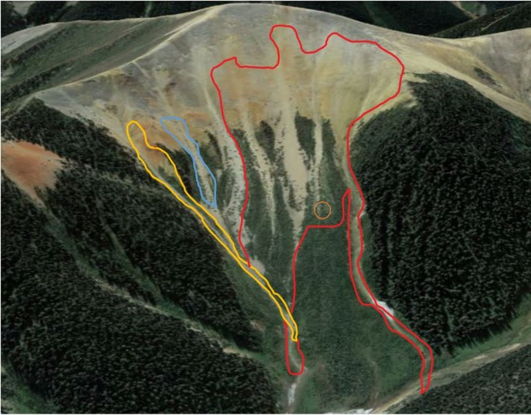 <b>Figure 3:</b> A Google Earth image showing the approximate extent of avalanches. The fatal avalanche is indicated in red. The avalanche buried Skiers 1 and 2 in the area indicated by the orange circle. The two sympathetic avalanches are indicated in blue and yellow. (<a href=javascript:void(0); onClick=win=window.open('https://caic-production.imgix.net/ulmp2rcip3g37prw4c96veyadsqo?ixlib=php-3.1.0&s=c316ef4e81e660b67d3b4d92461a8233','caic_media','resizable=1,height=820,width=840,scrollbars=yes');win.focus();return false;>see full sized image</a>)