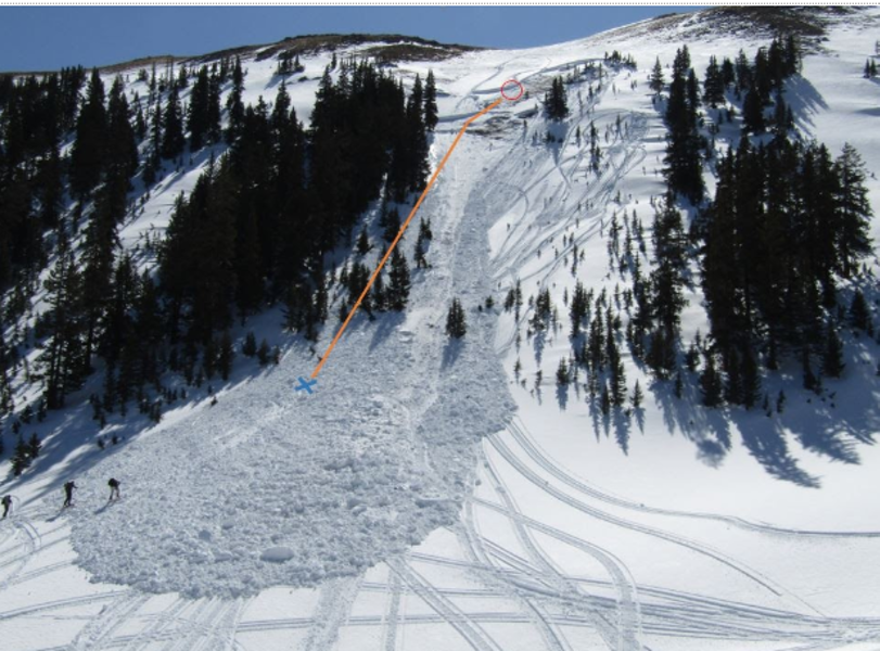 <b>Figure 3:</b> Looking up the avalanche. Rider 2 triggered and was caught near the circle, swept through the trees, and stopped on the avalanche debris surface near the X. (<a href=javascript:void(0); onClick=win=window.open('https://caic-production.imgix.net/vch2gtk7srppa53nthindsb3h1lx?ixlib=php-3.1.0&s=368bd0b7cfc4a5b4c897f5c8ad825259','caic_media','resizable=1,height=820,width=840,scrollbars=yes');win.focus();return false;>see full sized image</a>)