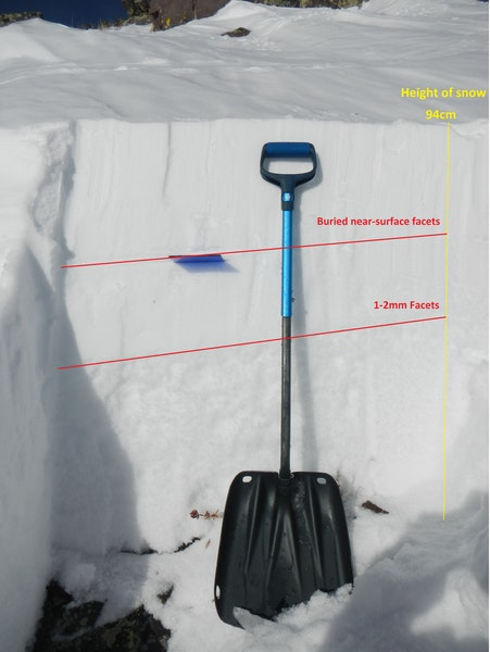 <b>Figure 14:</b> A view of a snow profile in the crown face of the first avalanche. Red lines show two problematic layers. The buried near-surface facet layer developed between the end of December and the New Year's storm while the lower faceted layer  persisted in the snowpack for several months. (<a href=javascript:void(0); onClick=win=window.open('https://caic-production.imgix.net/vgpyngy7f8qgnfrluk0fhrpj9dni?ixlib=php-3.1.0&s=996d5f4f94b92452781fd500b9cbb5d1','caic_media','resizable=1,height=820,width=840,scrollbars=yes');win.focus();return false;>see full sized image</a>)