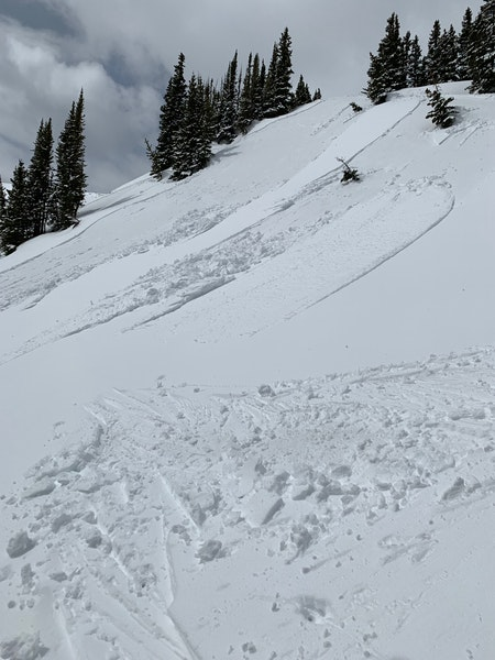 <b>Figure 2:</b> Debris and slide path of very shallow wet slide.  Slide also released in the closer section that was not skied.  Skier traversed to the left as you view the photo. (<a href=javascript:void(0); onClick=win=window.open('https://caic-production.imgix.net/wcvc60stlchrnw6exhvcunme3kj0?ixlib=php-3.1.0&s=b258b5b470191115e9df02df06391a27','caic_media','resizable=1,height=820,width=840,scrollbars=yes');win.focus();return false;>see full sized image</a>)