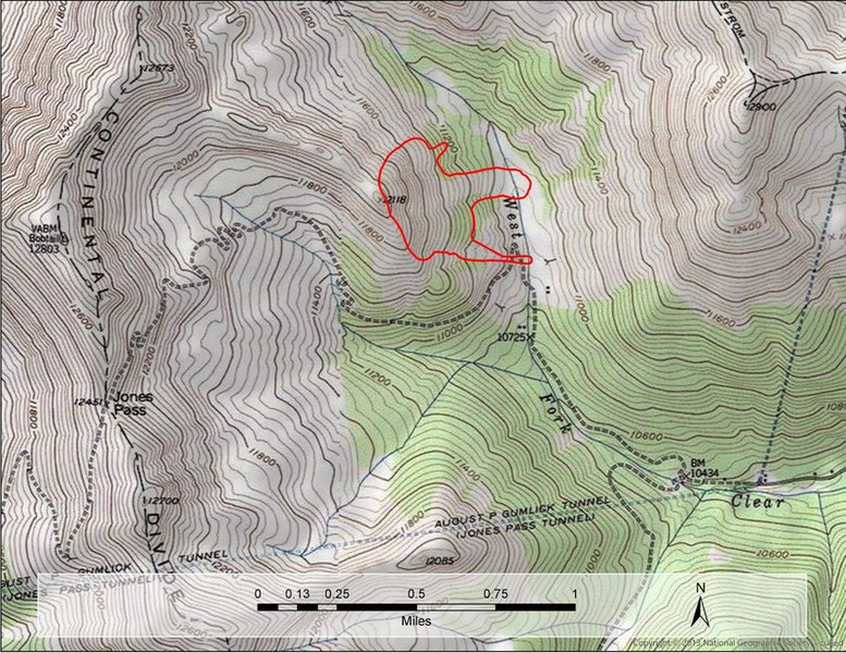 <b>Figure 2:</b> A map of the accident site. The  approximate location of the avalanche is marked by the red polygon. The avalanche was about 2,000 feet wide and ran over 1,000 vertical feet. It was large relative to the path and broke mature trees as it slid. In many places it broke to the ground (HS-NC-R4-D3.5-G). (<a href=javascript:void(0); onClick=win=window.open('https://caic-production.imgix.net/wgmnn8uvd0lqqal9ypekq7o2d3un?ixlib=php-3.1.0&s=1fc3831b91f986e93752a859b7675dd7','caic_media','resizable=1,height=820,width=840,scrollbars=yes');win.focus();return false;>see full sized image</a>)