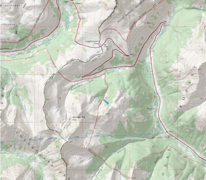 <b>Figure 1:</b> A map of the Independence Pass and Mountain Boy Gulch area. The blue polygon indicates the approximate avalanche location. (<a href=javascript:void(0); onClick=win=window.open('https://caic-production.imgix.net/whpziw2bz977uguf7lcmp6vio2qm?ixlib=php-3.1.0&s=a6d2fc135476c9a3f293f0f947132268','caic_media','resizable=1,height=820,width=840,scrollbars=yes');win.focus();return false;>see full sized image</a>)