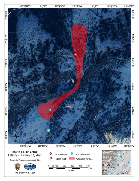 <b>Figure 2:</b> The Accident Site Overview shows the location of the rider when he triggered the avalanche and then where he was buried. The upper half of the image are the lower slopes in Avalanche Canyon. (<a href=javascript:void(0); onClick=win=window.open('https://caic-production.imgix.net/wlemmonjwve5bwkc66c6x0oe6ca2?ixlib=php-3.1.0&s=e6c57fad5f75cb5041fc7907ea4320c4','caic_media','resizable=1,height=820,width=840,scrollbars=yes');win.focus();return false;>see full sized image</a>)