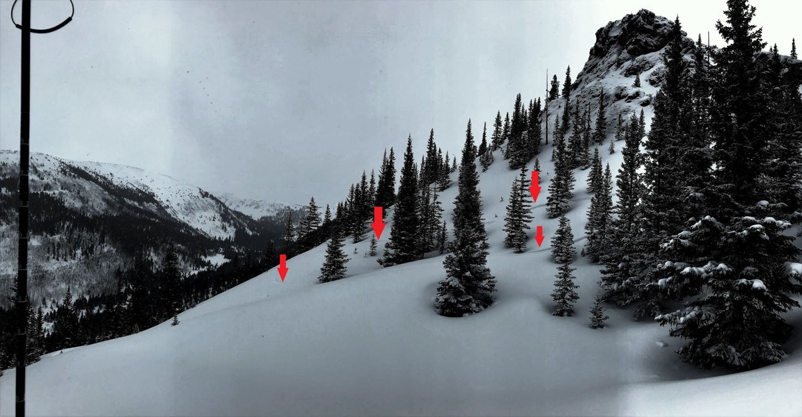 <b>Figure 6:</b> The red arrows mark tracks from the skiers approaching the slope that would later avalanche. Their tracks show how they entered the skier's left hand side of the slope in the days prior to the accident. The avalanche occurred just beyond the snowy ridgeline in the foreground running below the rock otucrop. (<a href=javascript:void(0); onClick=win=window.open('https://caic-production.imgix.net/wuhtxqwte3xnplyyd2i4330mwtoa?ixlib=php-3.1.0&s=d60968908aeeee33fc4d3fabf217ac86','caic_media','resizable=1,height=820,width=840,scrollbars=yes');win.focus();return false;>see full sized image</a>)