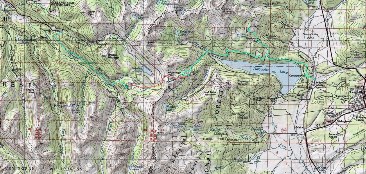 <b>Figure 1:</b> A topographic map of the Upper Frying Pan and Turquoise Lake area. The green lines mark possible routes to and from the Betty Bear, Skinner, and Uncle Bud's Huts. The red line marks a possible route between the Betty Bear and Skinner Huts. (<a href=javascript:void(0); onClick=win=window.open('https://caic-production.imgix.net/x07l1konph4b8fuv5k9uelvq5iyr?ixlib=php-3.1.0&s=e11d01676148466d4a49d0270dd52a34','caic_media','resizable=1,height=820,width=840,scrollbars=yes');win.focus();return false;>see full sized image</a>)